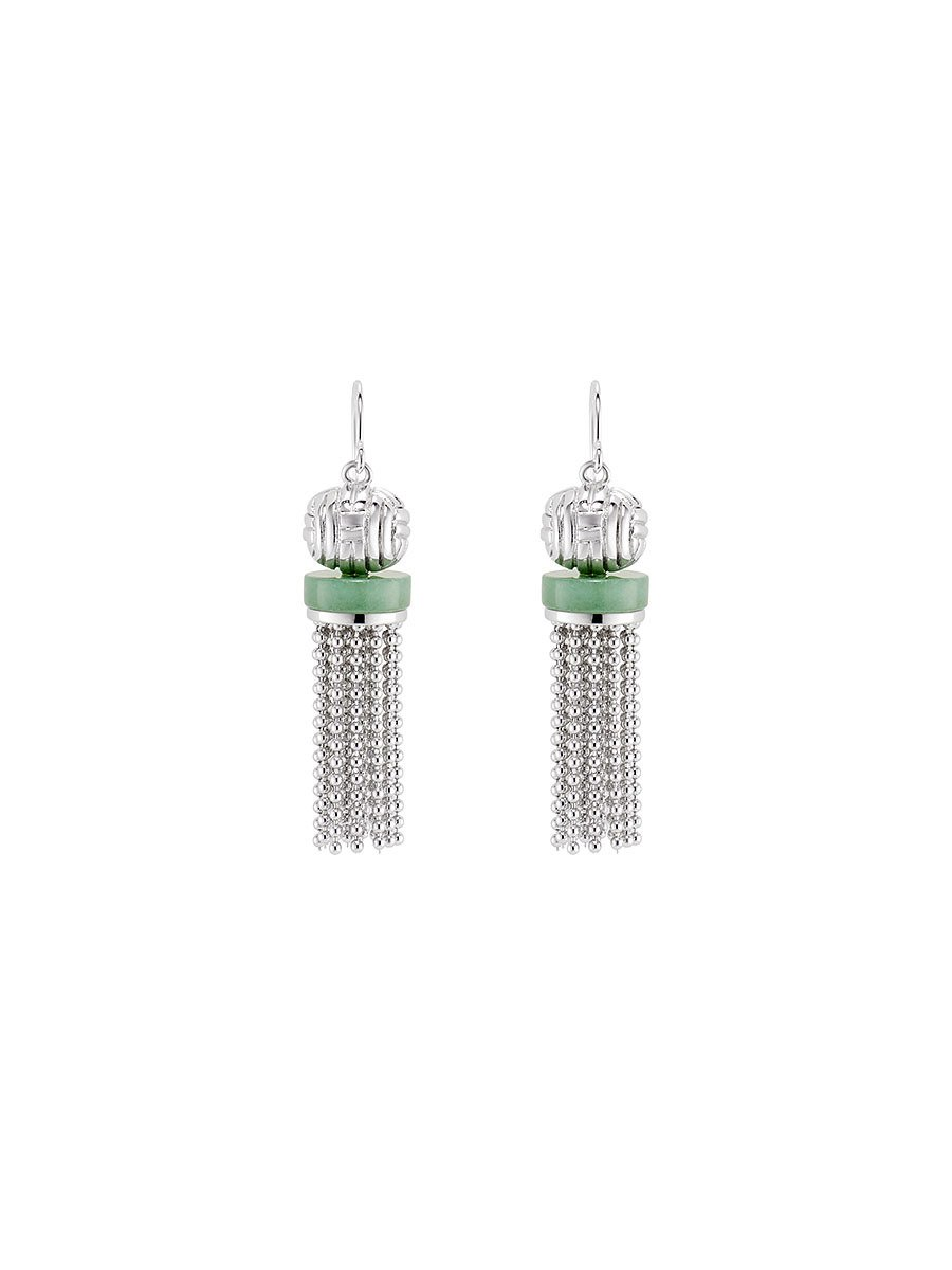 Jade Inspired Tassel Short Earrings