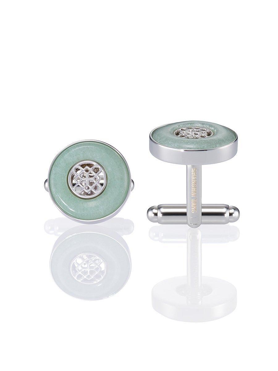 Silver Lattice Jade Inspired Cufflinks