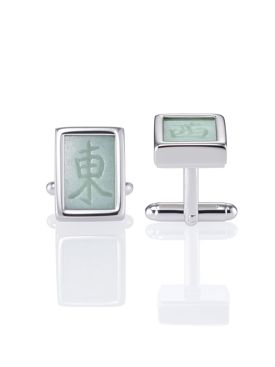 Silver Mahjong Cufflinks