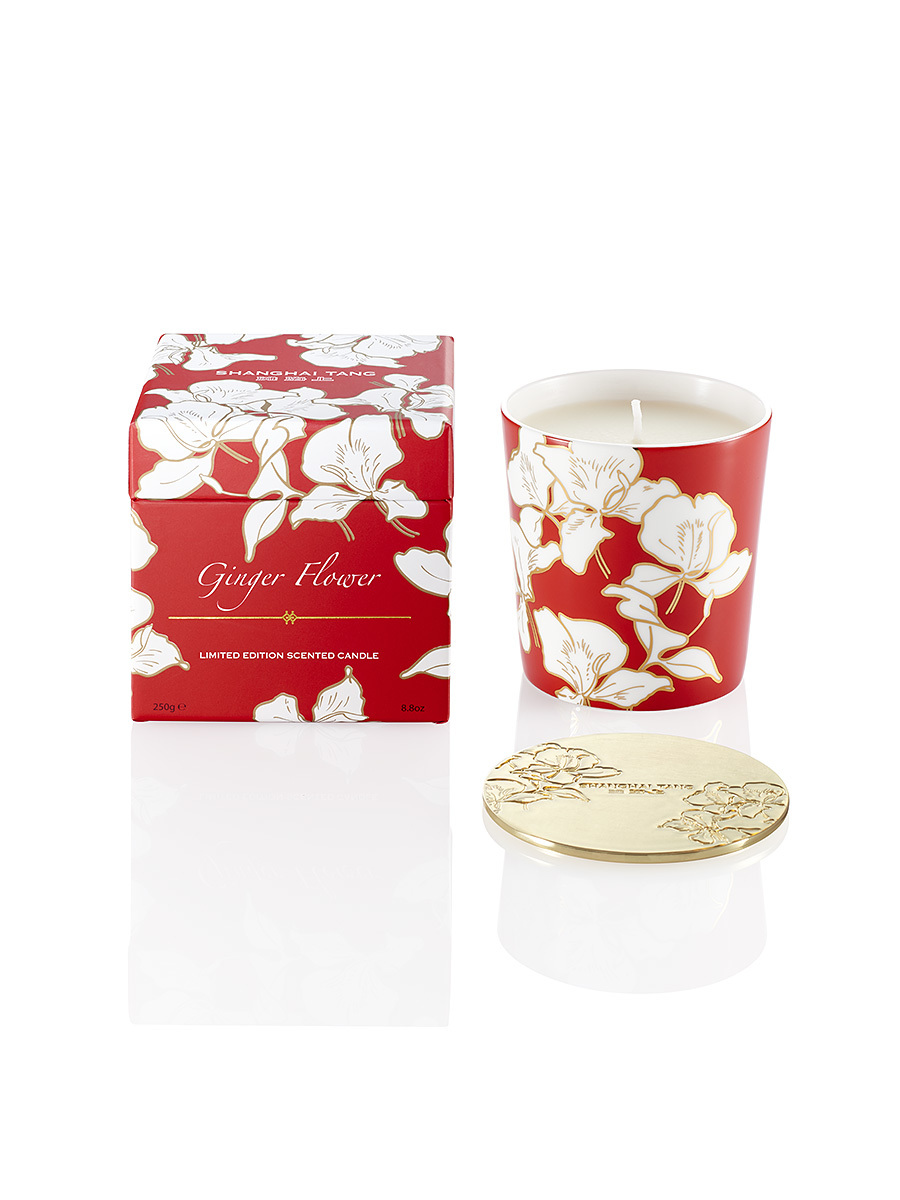 Ginger Flower Bone China Scented Candle W Lid