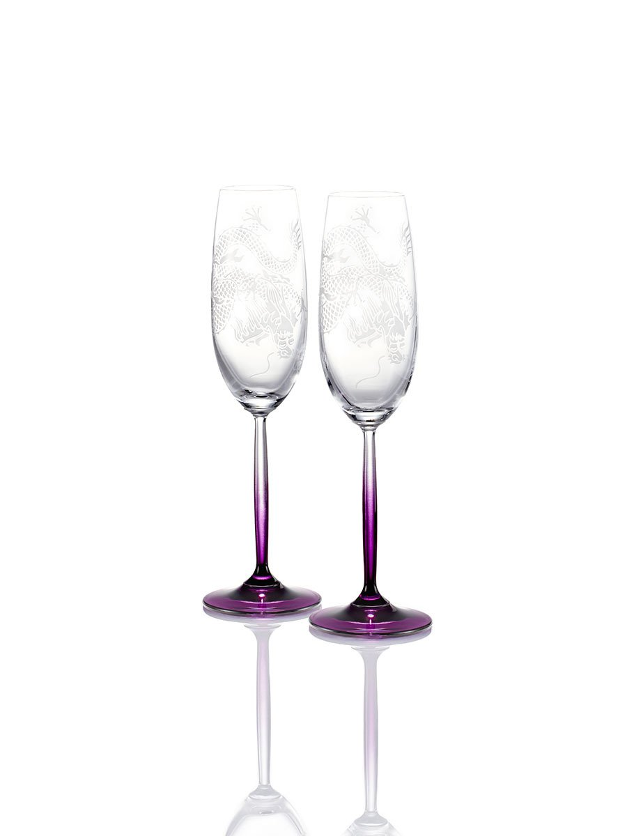 Colour Dragon Champagne Glasses (Set of 2)