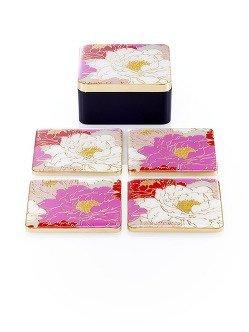 Peony Enamel Coasters (Set of 4)