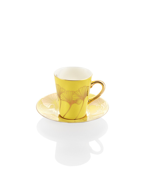 Ginkgo Bone China Espresso Cup and Saucer