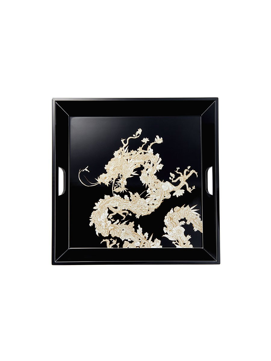 Carved Dragon Lacquer Serving Tray