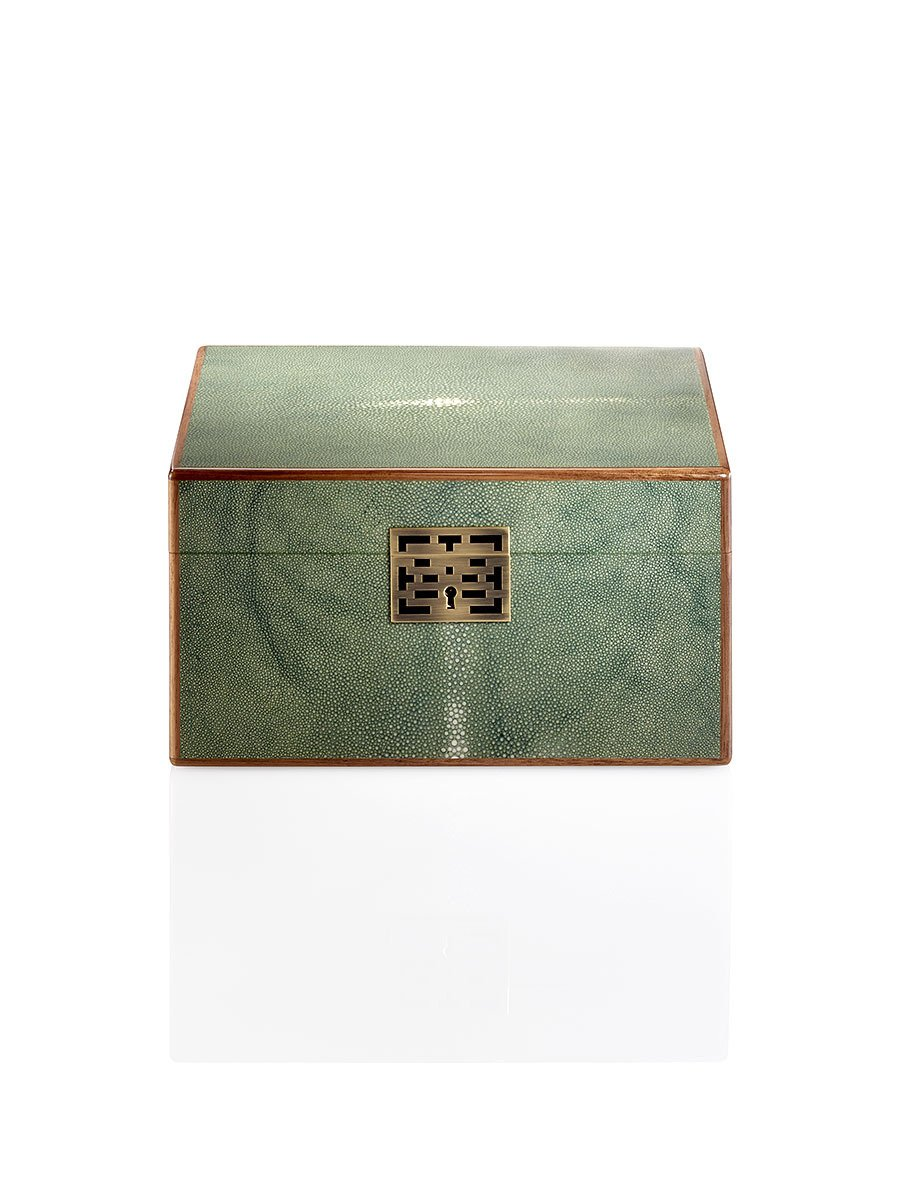Lacquer Shagreen Stringray Double Happiness Jewellery Box Large