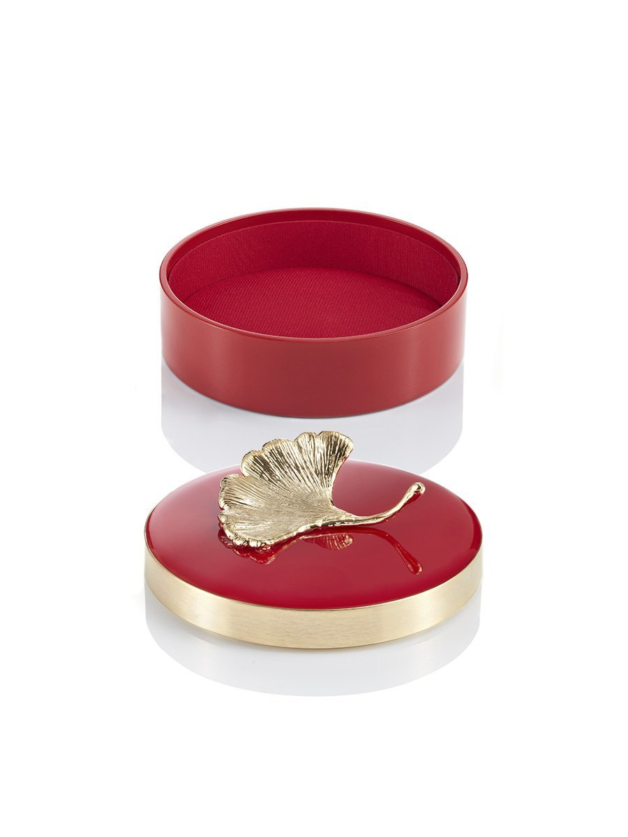 Ginkgo Enamel Round Box Medium