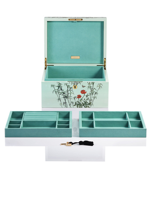 Forbidden Garden Lacquer Jewellery Box with Lock – Large