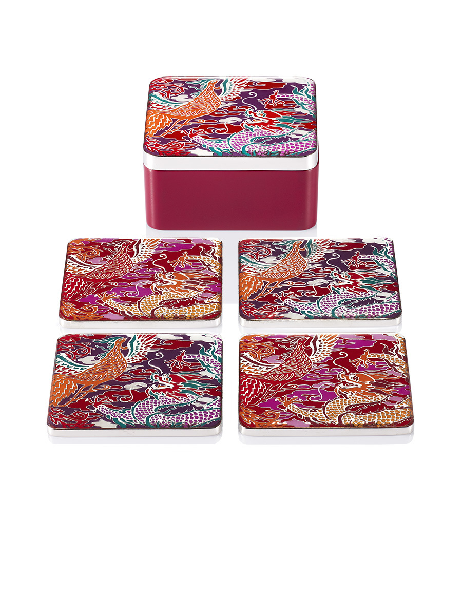 Dragon and Phoenix Enamel Coaster Set of 4