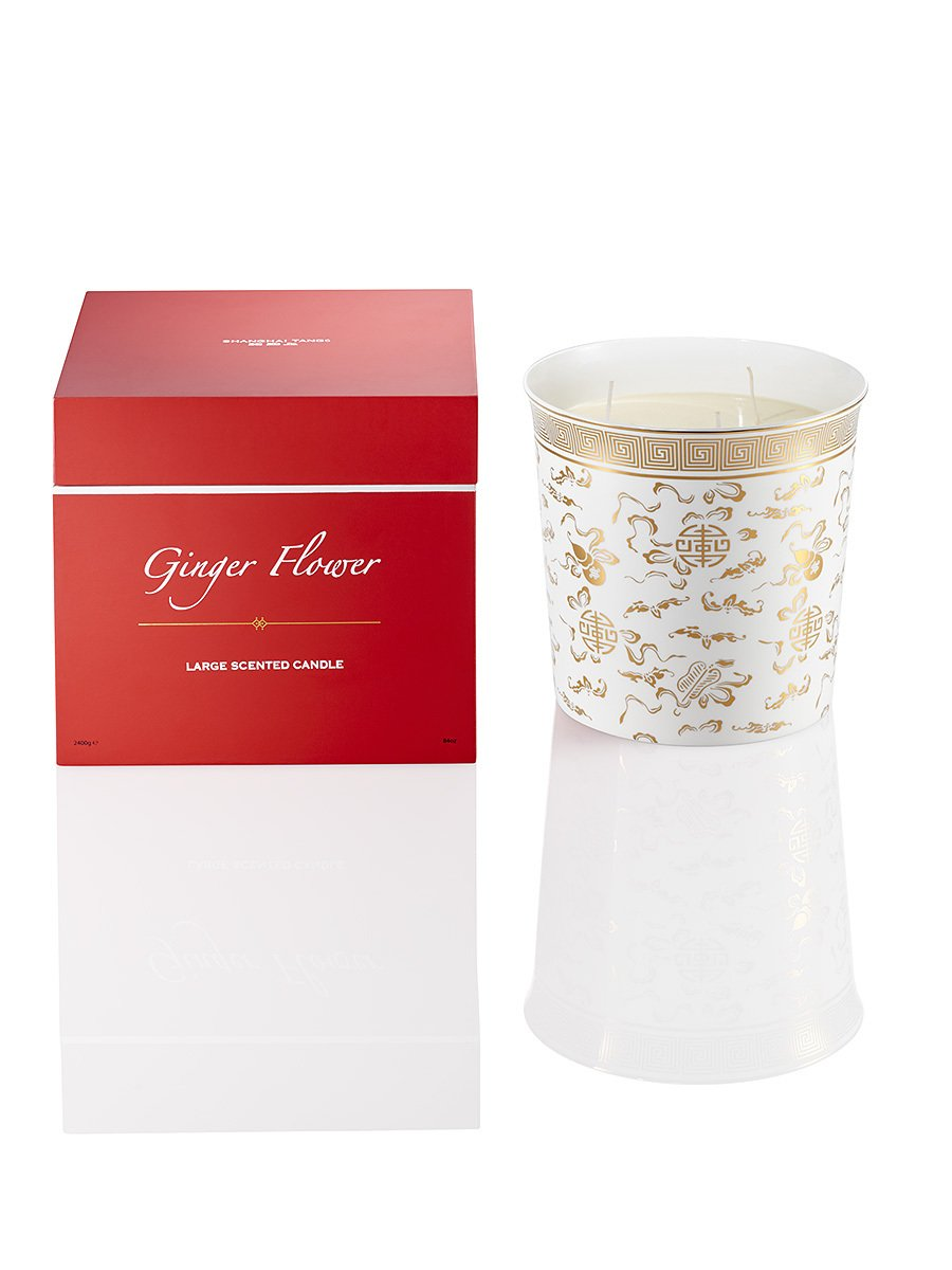 Three Wicks Ginger Flower Bone China Candle