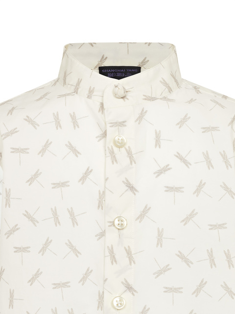 Dragonfly Print Band Collar Cotton Kids Shirt