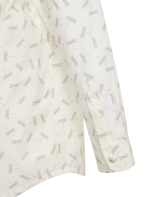 Dragonfly Print Band Collar Kids Shirt