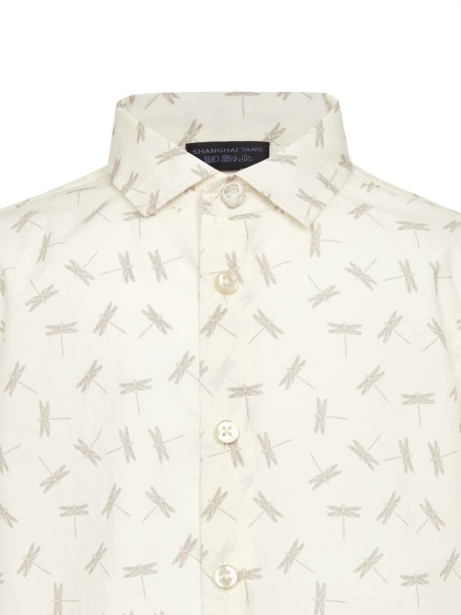 Dragonfly Print Short Sleeve Cotton Kids Shirt