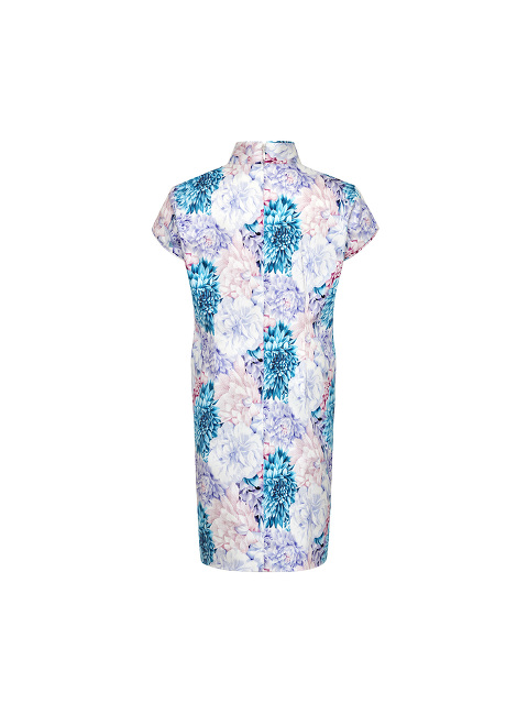Floral Print Stretch Cotton Kids Qipao