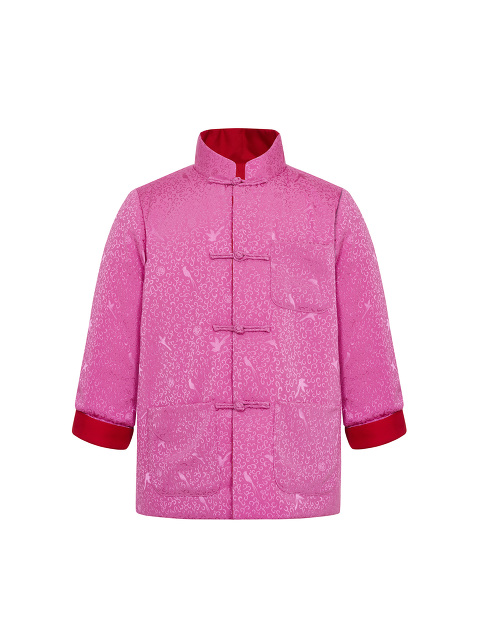 Kids Bird Jacquard Reversible Padded Silk Mein Lap