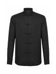 Frog Button Mandarin Collar Chambray Shirt Jacket