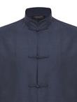 Cotton Frog Buttons Standing Collar Shirt Jacket