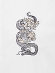 Snake and Flower Embroidery Mandarin Collar Shirt