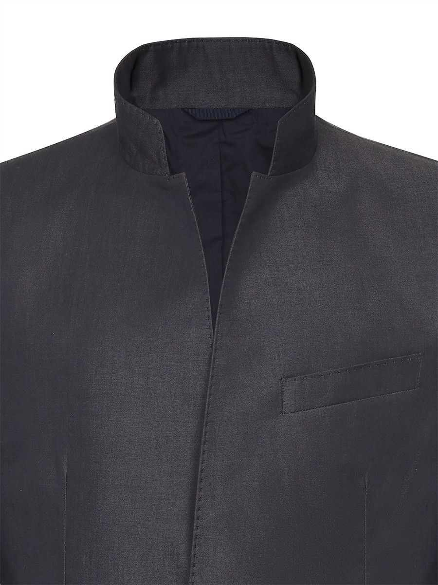 Cotton 2 Buttoned Standing Collar Jacket