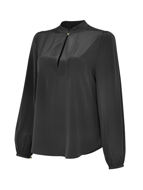 Jewel Button Mandarin Collar Blouse