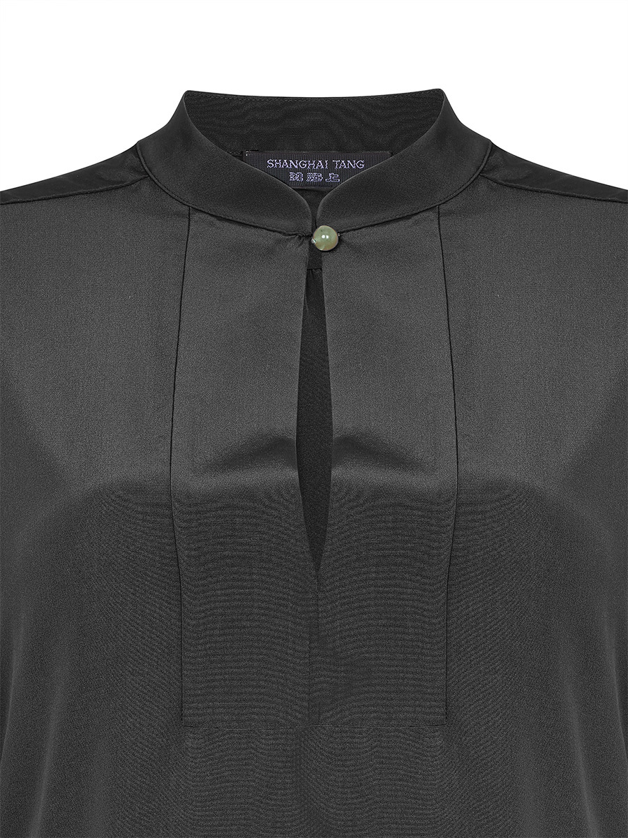 Jewel Button Standing Collar Shirt