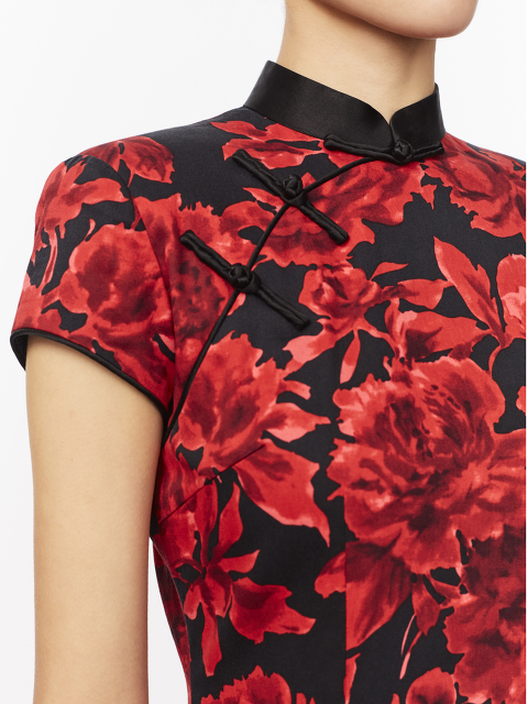 Rose Print Long Qipao with Silk Lining