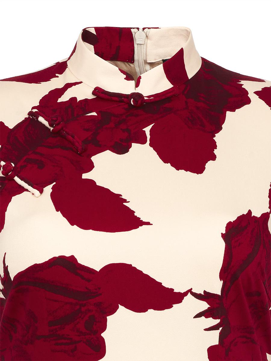 Rose Print Short Qipao with Silk Lining