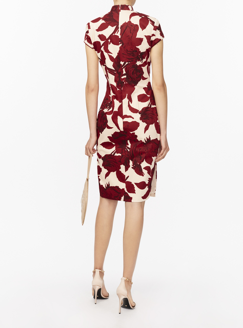 Rose Print Short Qipao with Silk Lining