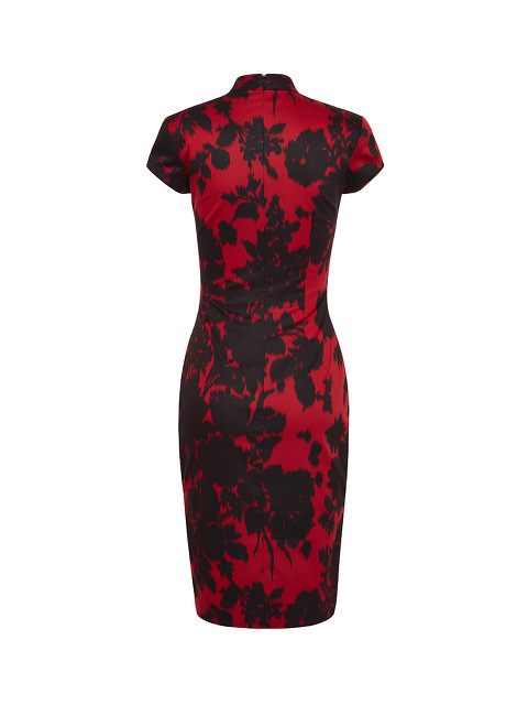 Shadow Floral Print Qipao with Silk Lining