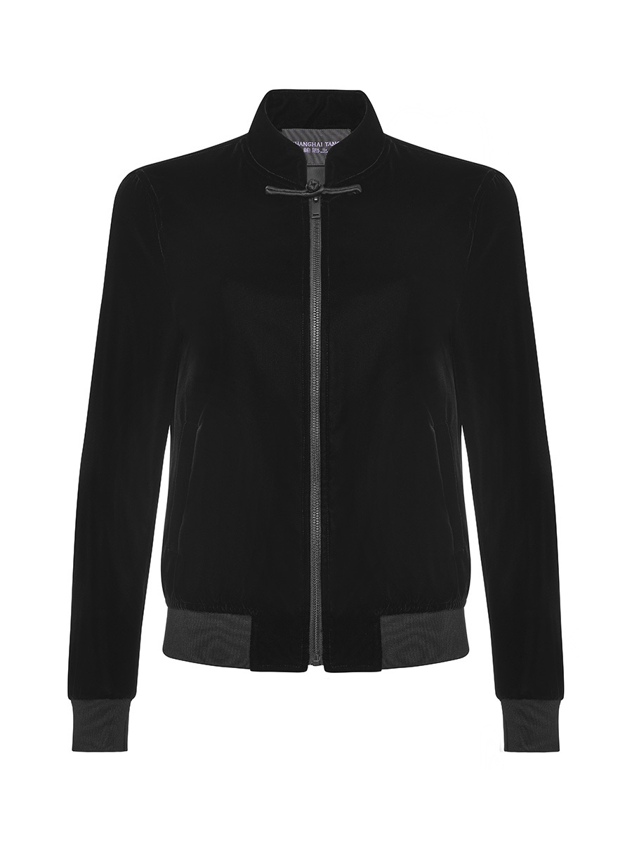 Mandarin Collar Velvet Zip-Up Bomber Jacket With Frog Button and Silk Lining