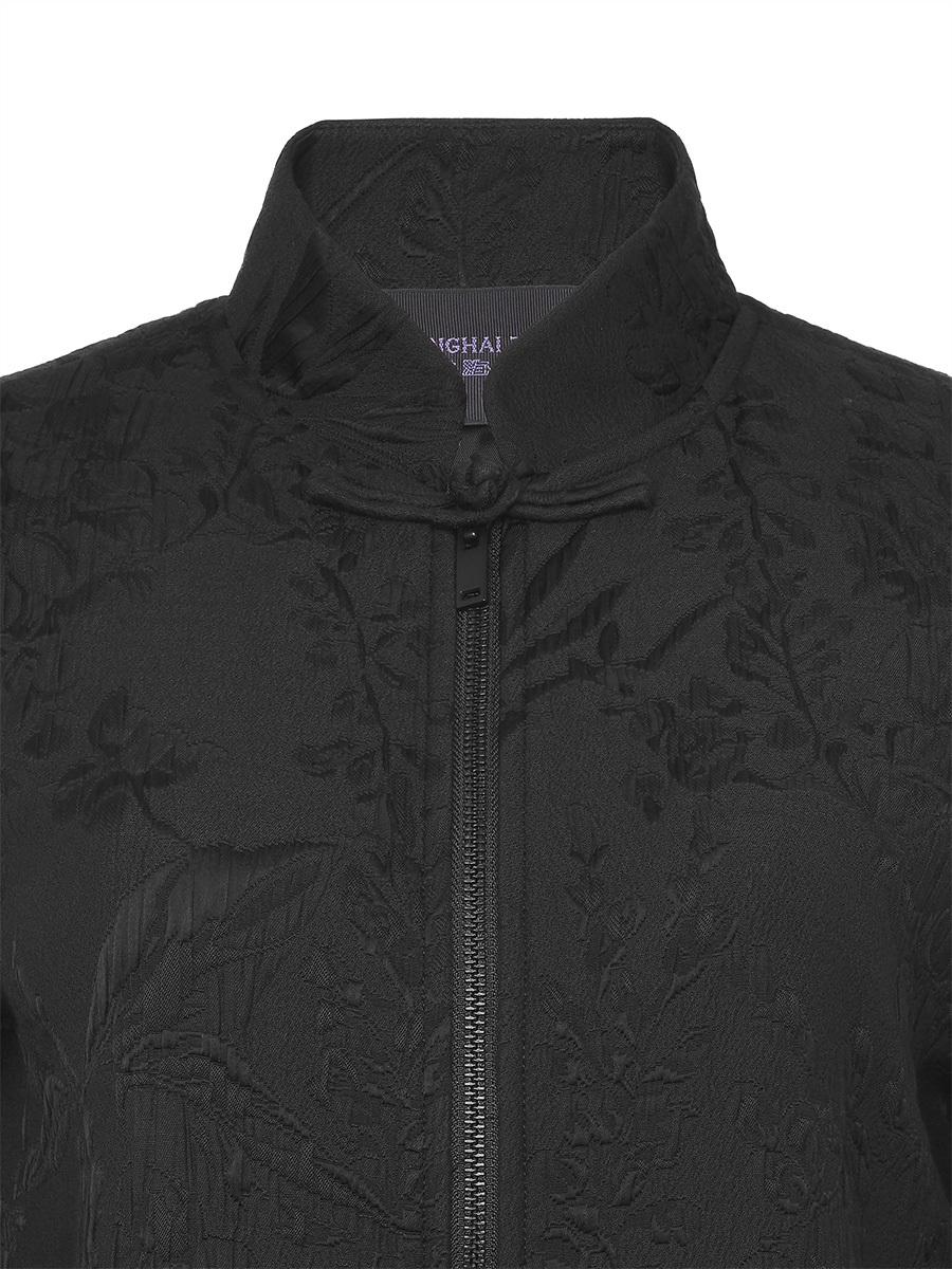 Mandarin Collar Jacquard Bomber Jacket with Frog Button