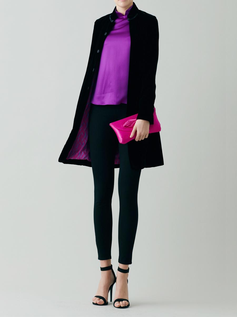 Mandarin Collar Velvet Coat