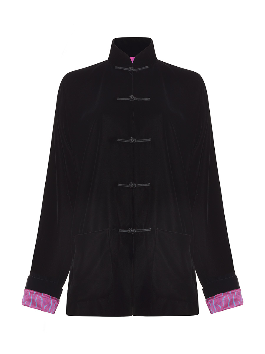 Velvet Tang Jacket With Printed Silk Lining