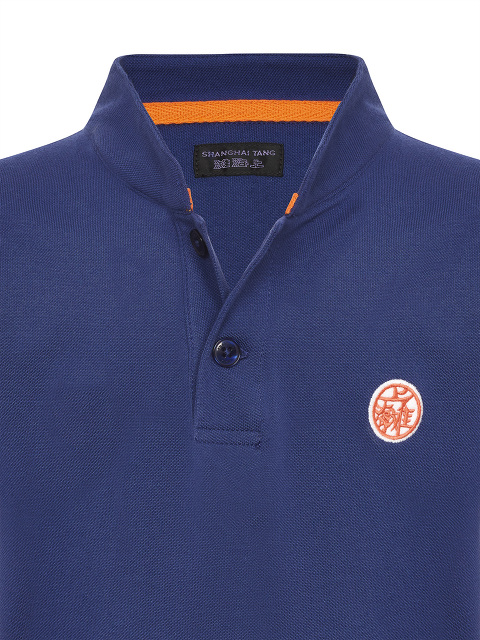 Motif and Number Patch Kids Cotton Polo Shirt