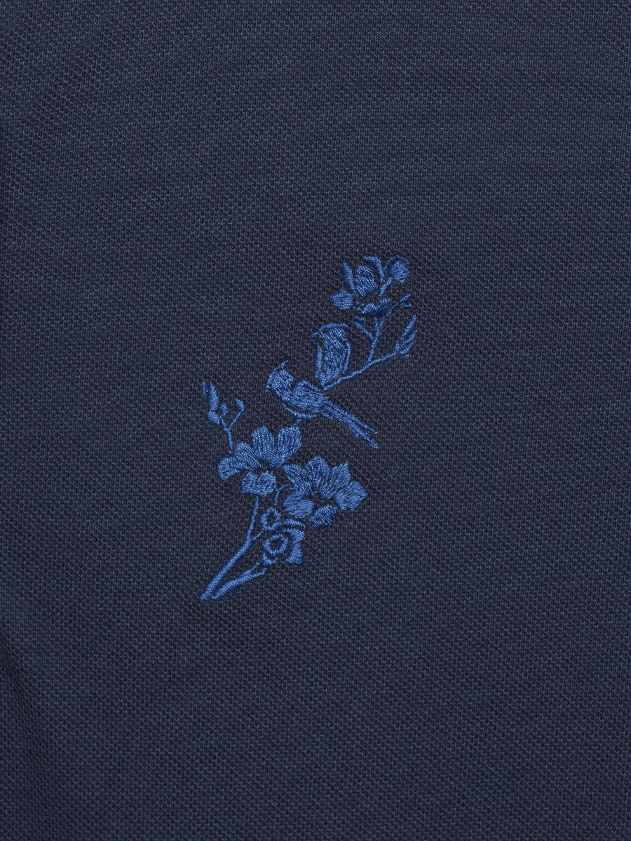 Tonal Bird Embroidery Kids Polo Shirt
