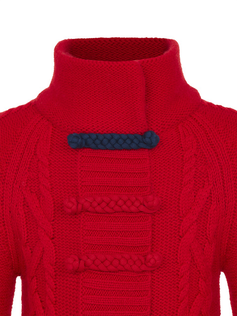 Braided Button Cable Knit Wool Kids Cardigan