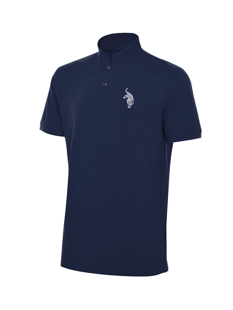 Tiger Embroidery Mandarin Collar Polo Shirt