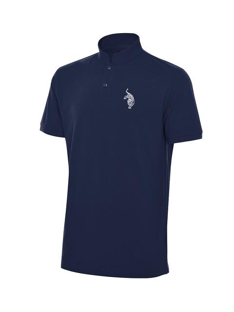 Tiger Embroidery Mandarin Collar Polo Shirt
