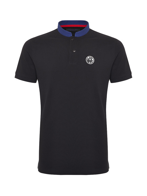 Motif and Number Patch Cotton Polo Shirt