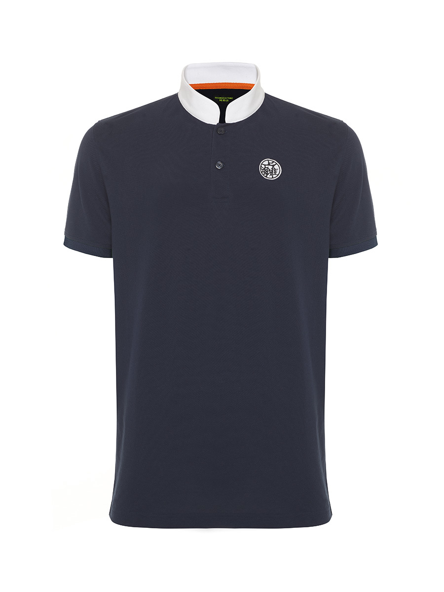 Motif and Number Patch Cotton Pique Polo Shirt