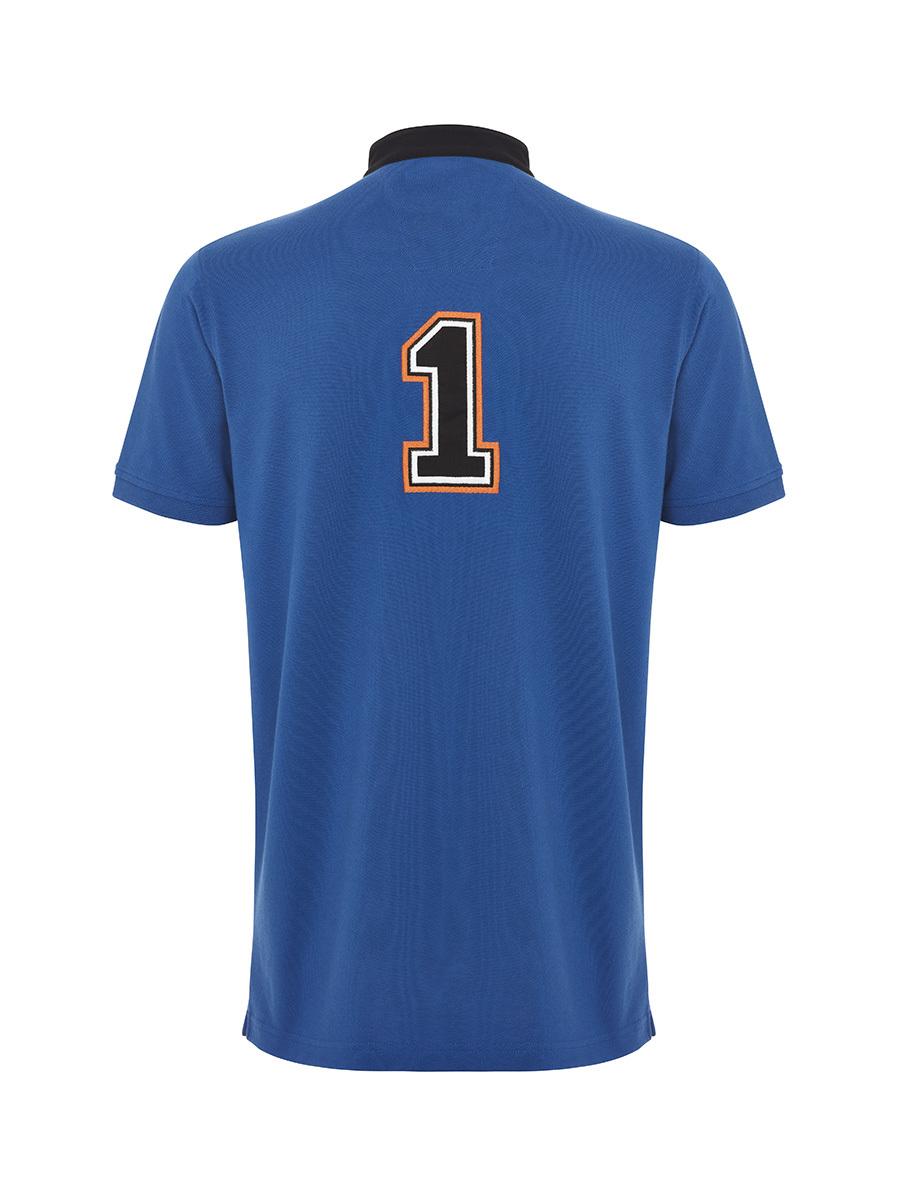 Motif and Number Patch Mandarin Collar Polo Shirt