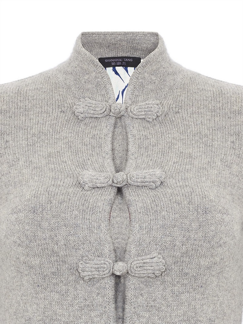 Ws/Silk Short Cardigan With Rich Frog Buttons And Printed Silk Lining