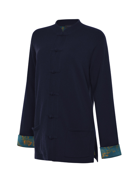 Cashmere-silk Cardigan with Chinoiserie Silk Lining