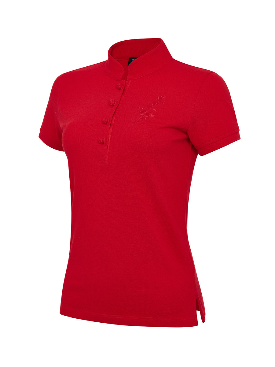 Tonal Bird Embroidery Slim Fit Polo Shirt