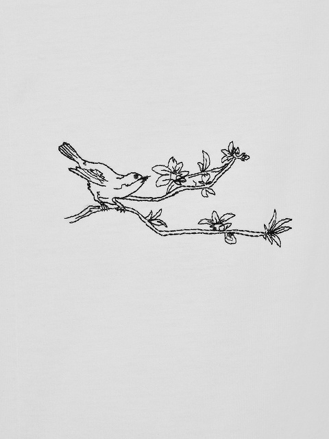Bird Embroidery Cotton T-shirt