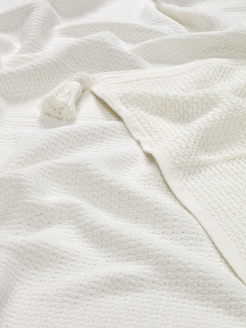 Foldable Cotton Knit Baby Blanket with Tassel