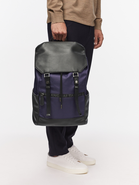 Leather Flap Drawstring Backpack with Waterproof Zip