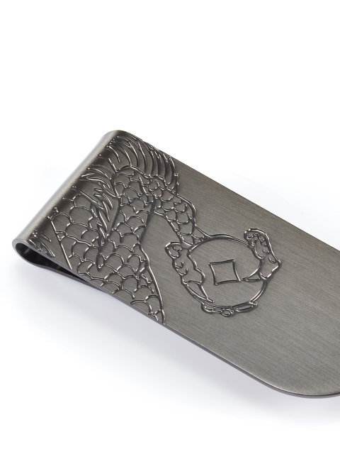 Dragon Engraved Money Clip Leather Card Holder