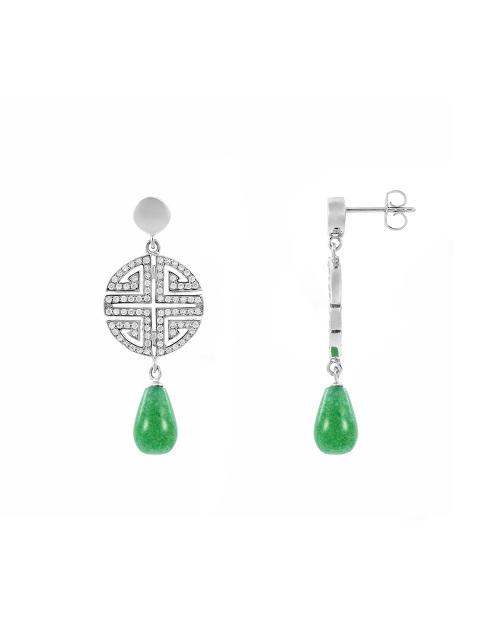 Shou Crystal Pavé Gemstone Drop Earrings