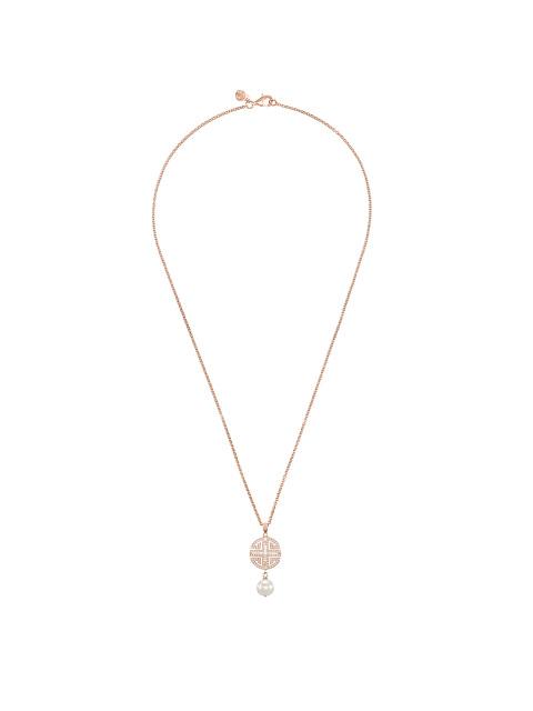 Shou Crystal Pavé Gemstone Pendant Necklace
