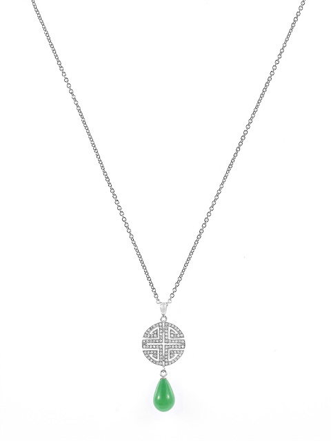 Shou Crystal Pavé Gemstone Pendant Necklace